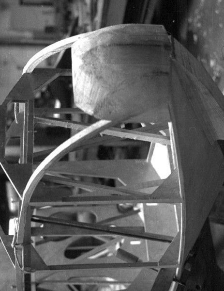 Nose of a 1930s Falke sailplane that Joe is restoring