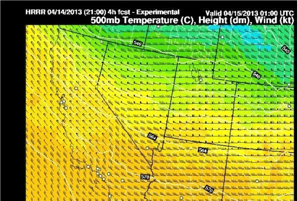 End of Day Winds Aloft - 500mb