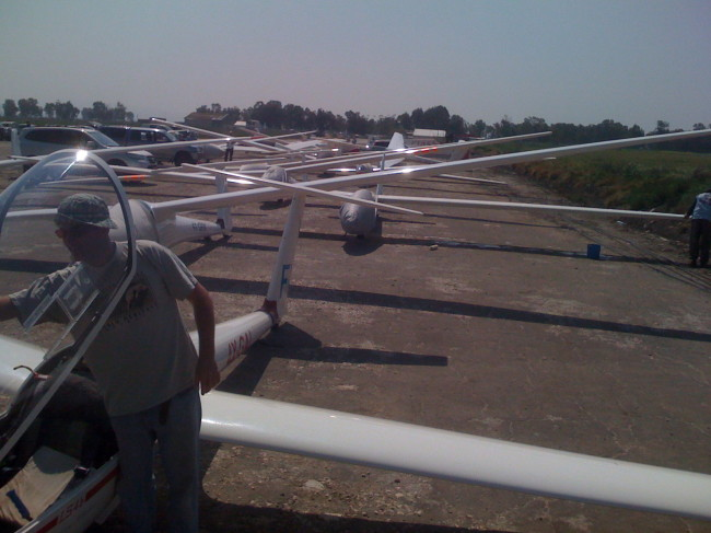 Megido's gliders, lined up for launching